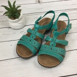 Clarks Teal Leather Sandals, Size 8.5